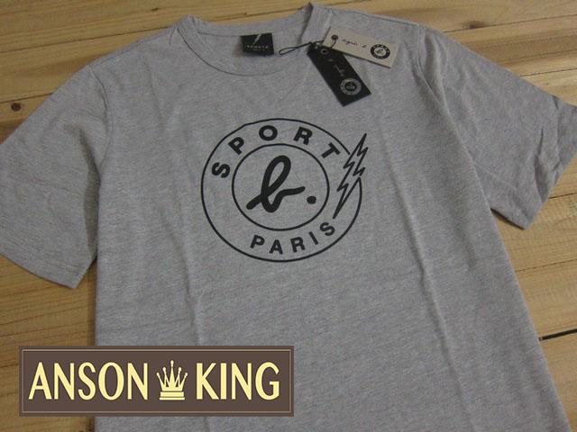 [Anson king]outlet國外代購 agnes b.sport b 閃電 LOGO 短袖 圓領 男款 T恤 灰