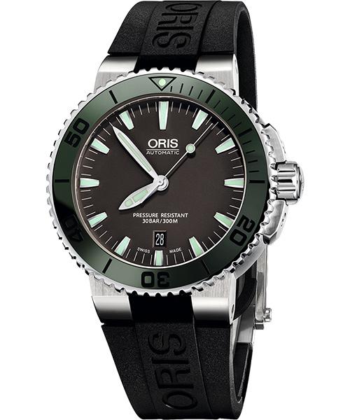 ORIS 豪利時 0173376534137-0742634EB時間之海專業潛水腕錶/灰面綠框43mm