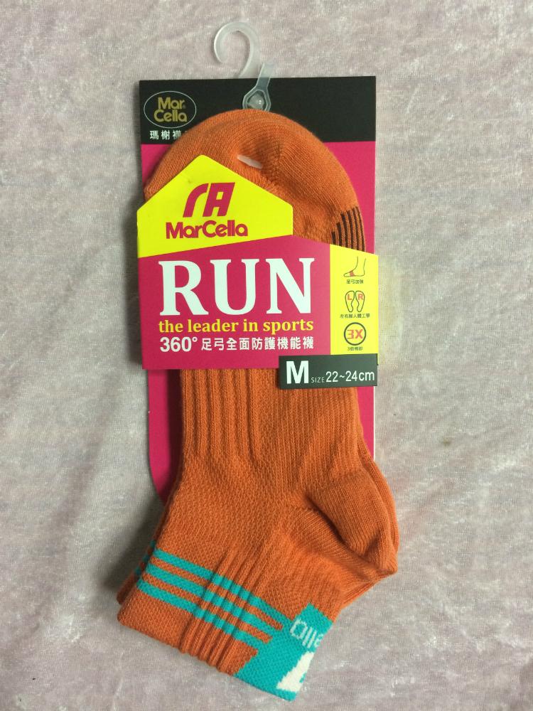 Mar cella 瑪榭 360度足弓全面防護機能襪 2/1高 橘色 女襪 M 22~24cm 台灣製