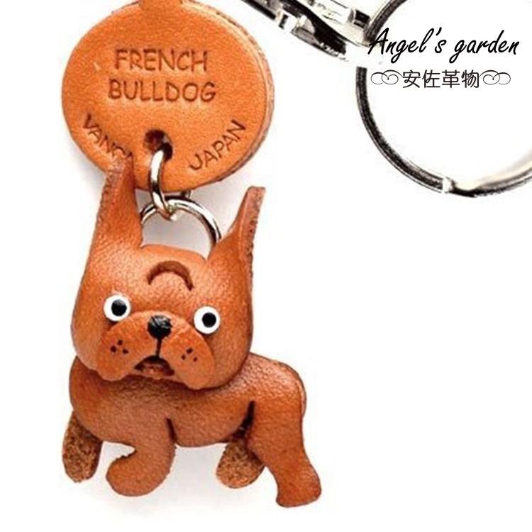 【安佐革物】 法國鬥牛犬 日本真牛皮 手工小吊飾禮物 鑰匙圈【Angel's garden 】 56728 French Bulldog