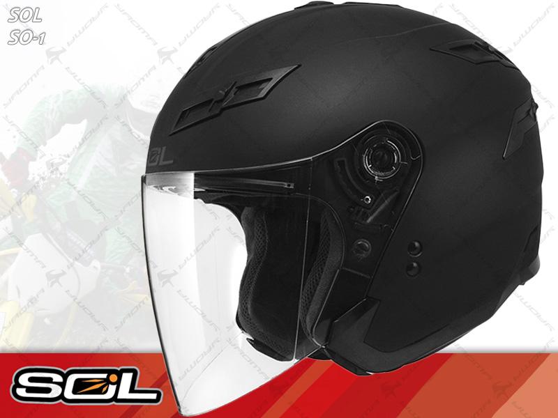 SOL安全帽|SO-1 / SO1 素色 消光黑 【內置墨片.LED燈】 半罩帽 『耀瑪騎士生活機車部品』