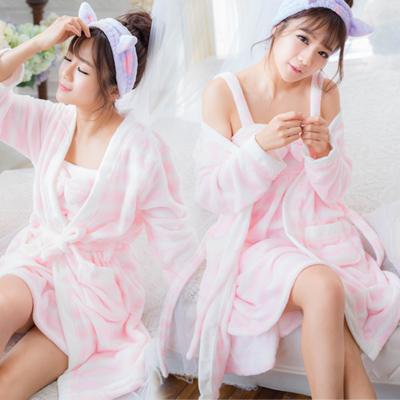 (現+預)三色~兩件式~珊瑚絨睡袍+睡裙-冬季長袖睡衣