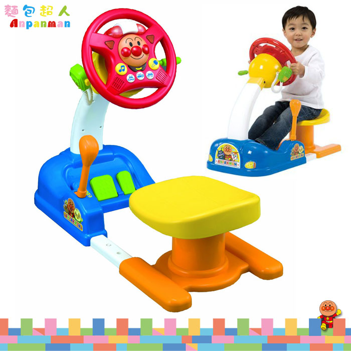 大田倉 日本進口正版ANPANMAN 麵包超人 方向盤 駕駛座 開車玩具 打檔 油門 賽車 308527