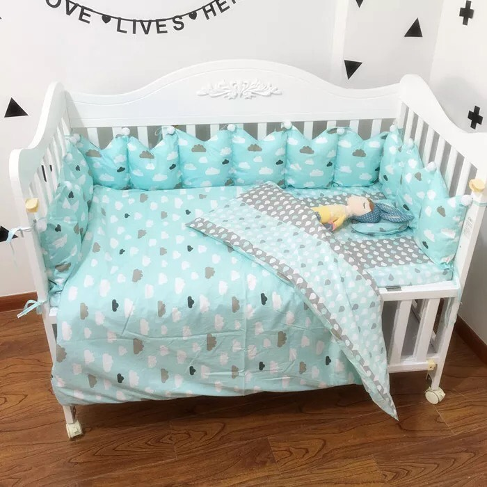 【doudoumiki】【純棉】皇冠造型嬰兒床圍床組-(藍雲朵)(5件套/7件套)(3面圍/全圍)