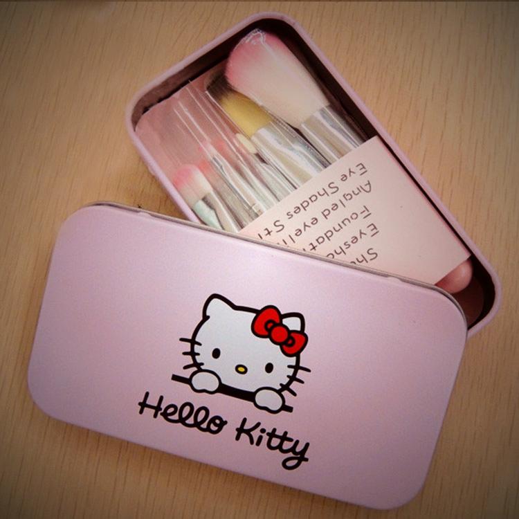 HELLO KITTY化妝刷 7件套 KITTY刷具限量版鐵盒 凱蒂貓化妝刷具組?AN SHOP?