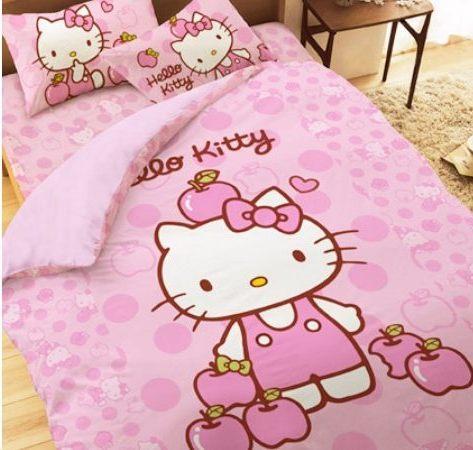 LUST寢具 【Hello Kitty 粉紅蘋果】單人薄被套4.5X6.5尺、日本卡通授權、台灣製