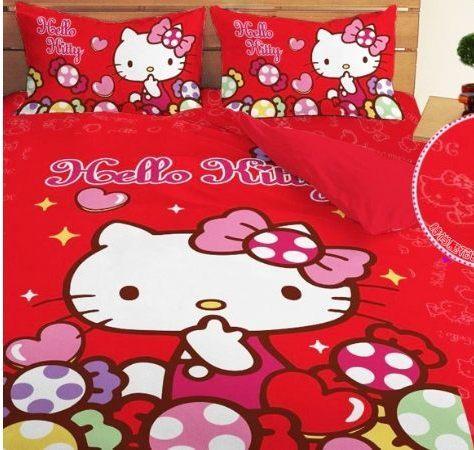 LUST寢具 【Hello Kitty 彩虹糖樂園-紅】單人薄被套4.5X6.5尺、日本卡通授權、台灣製