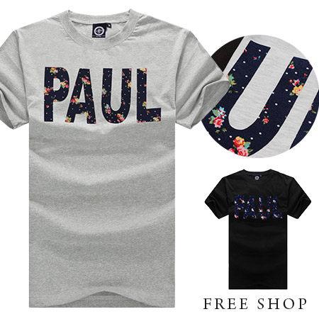 短T Free Shop【QSPG4793】玩命關頭PAUL保羅沃克碎花圓領棉質短T短袖上衣潮T 二色 MIT 台灣製