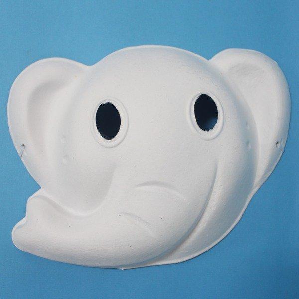 大象面具 空白動物面具 DIY面具 彩繪面具 空白面具 空白眼罩 紙面具 紙漿面具(附鬆緊帶)/一個入{定40}~725348