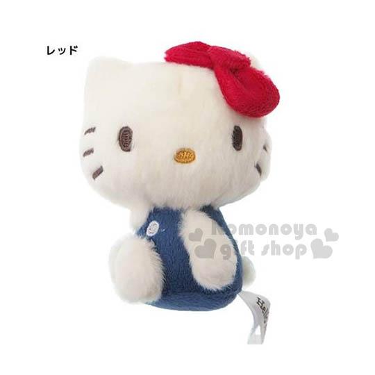 〔小禮堂〕Hello Kitty 造型絨毛娃娃吊飾《小.白.側坐.藍衣》附珠鍊