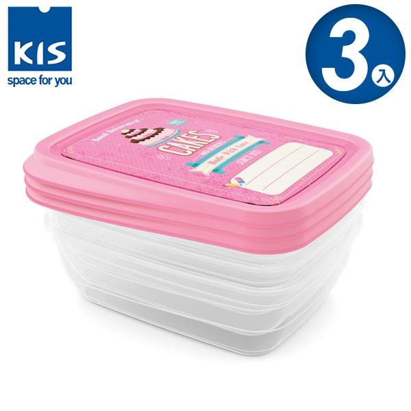 E&J【012017-03】義大利 KIS 蛋糕系列食物保鮮盒組 3x1L 3入;便當盒/飯盒/收納盒/餅乾盒