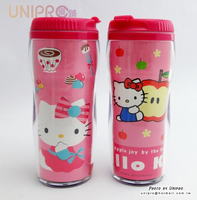 【UNIPRO】Hello Kitty 凱蒂貓 曲線杯 380c.c 冷水杯 水壺 隨身杯 台灣製 三麗鷗正版授權 KT