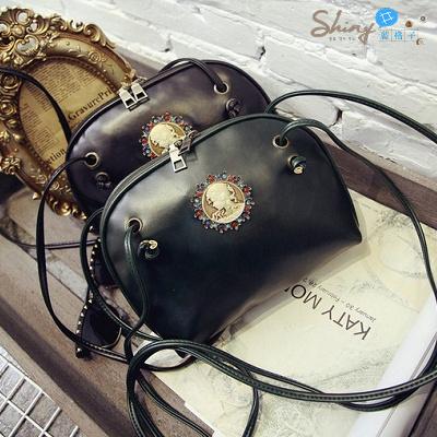 【P013】shiny藍格子-複古文藝.韓版新款美人頭時尚單肩斜挎包小包包