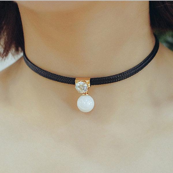 PS Mall 韓版頸鏈項圈日韓版時尚原宿甜美珍珠鋯石皮繩裝飾品鎖骨項鍊配飾【G2089】