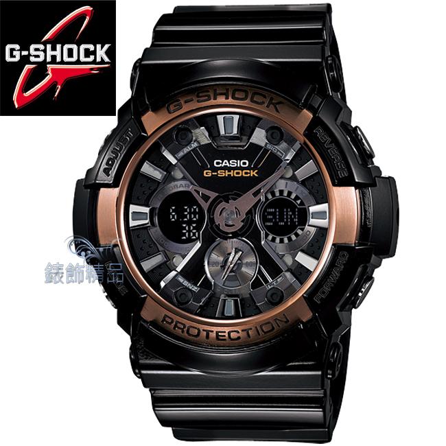 【錶飾精品】現貨卡西歐CASIO G-SHOCK全新雙顯金屬感 黑框枚金GA-200RG-1A正品GA-200RG-1ADR禮物