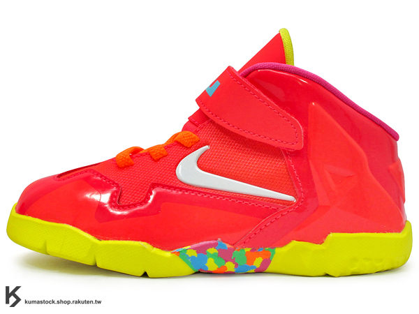 [12%OFF] 2014 NBA MIAMI HEAT 熱火隊 全新代言鞋款 NIKE LEBRON XI 11 TD BT FRUITY PEBBLES 幼童鞋 BABY 鞋 紅 七彩彩虹 糖果 JAMES AIR MAX (621714-600)