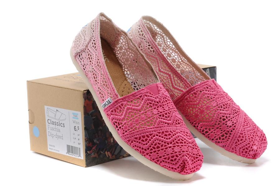[女款] 國外代購TOMS 帆布鞋/懶人鞋/休閒鞋/至尊鞋 蕾絲系列  漸變粉色