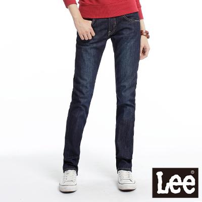【Super Sales 褲款下殺↘1.5折】LEE 時尚剪裁Melissa 428中腰標準直筒牛仔褲 -女款(深藍)