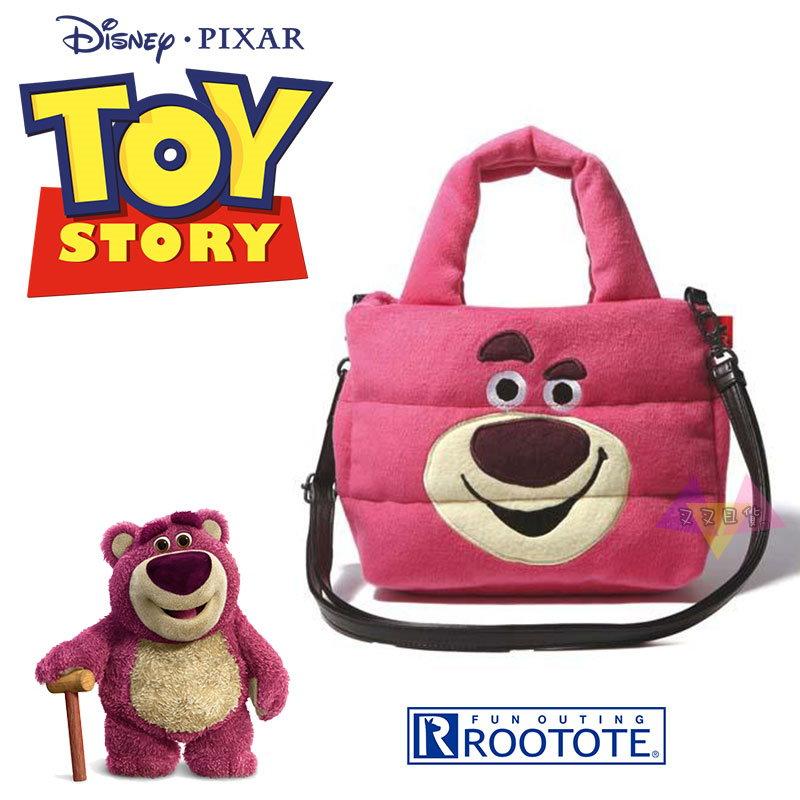 叉叉日貨 迪士尼玩具總動員熊抱哥大臉Rootote太空包絨毛手提包肩背包斜背包~皮質背帶【Di38141】到貨囉~