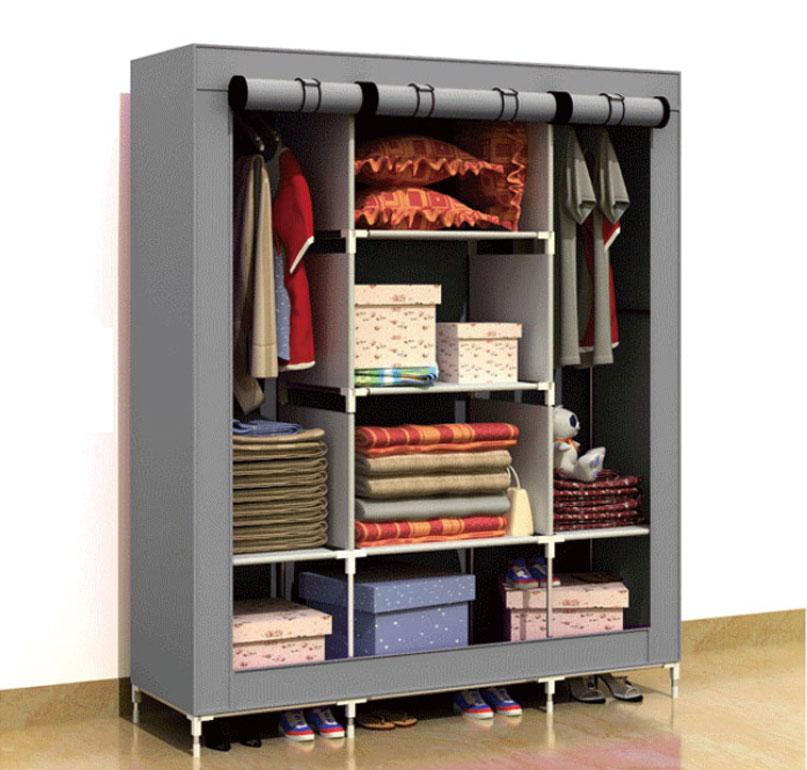 超大三排加寬加高8格簡易防塵衣櫃 收納 鋼管 衣櫥 (草綠/紫紅/灰色) 免運*特價*