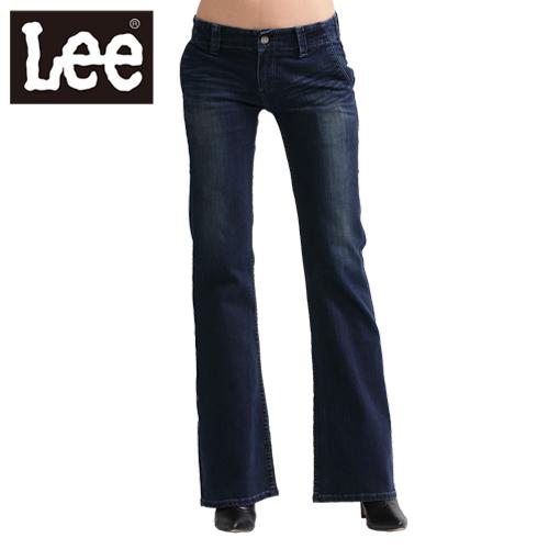 【Super Sales 褲款下殺↘2.5折】LEE 牛仔褲408 中腰標準靴型-女款(二手深藍)