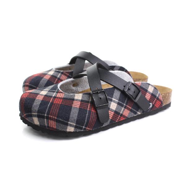 GP 勃肯鞋 女鞋 黑紅格紋  no737