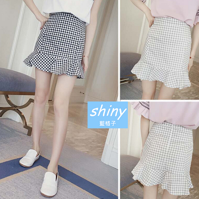 【V1034】shiny藍格子-自然微風.清新顯瘦格子包臀荷葉邊短裙