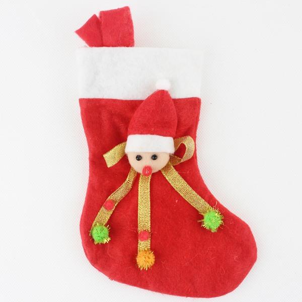 小聖誕襪 白邊金緞帶立體玩偶聖誕襪 聖誕節聖誕襪(小型)/一個入{促30}