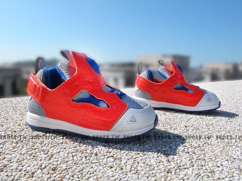 Shoestw【V62994】Reebok Pump Fury 小童鞋 灰藍橘 襪套 黏帶 小童
