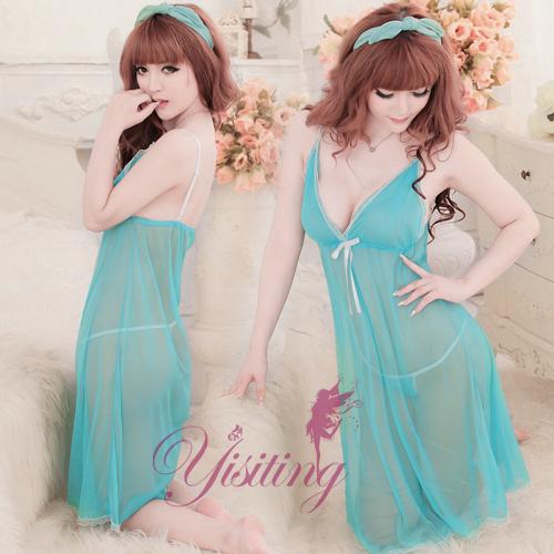 [漫朵拉情趣用品]《Yisiting》為愛癡狂!性感網紗二件式睡衣﹝水藍﹞ NO.530831