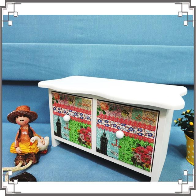 ↙8折↘ 洗白浪型二抽櫃《2W4》大笨鐘桌上型二抽櫃 收納櫃 飾品珠寶盒 居家布置◤彩虹森林◥