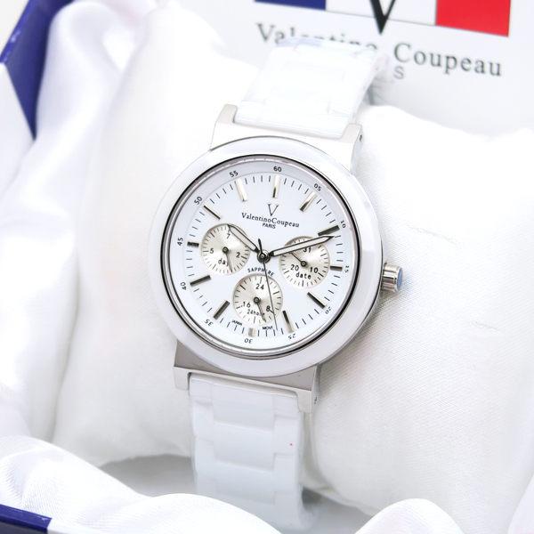 《好時光》Valentino 范倫鐵諾 薄型 真三眼 日期/ 24小時/ 星期 精密陶瓷錶 男錶 女錶 水晶鏡面 白
