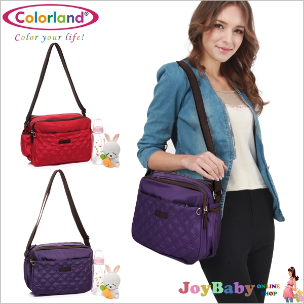 【JoyBaby】Colorland 高雅格紋空氣包多功能斜背媽媽包 肩背女包休閒包多收納斜背媽咪包