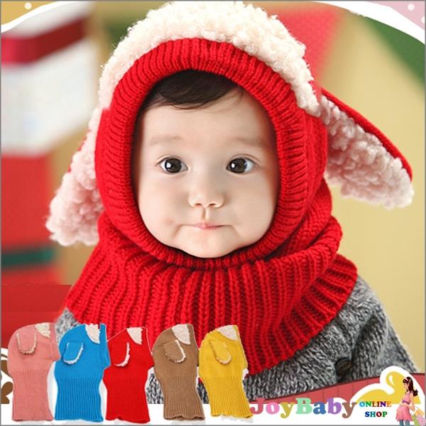 毛線帽/披肩/帽子可愛狗狗針織毛線帽嬰幼兒連體帽子圍巾寶寶兒童披肩 保暖帽【JoyBaby】