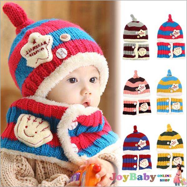 童帽毛線帽/寶寶帽秋冬保暖套帽韓國棒球毛線帽+圍脖兩件組【JoyBaby】