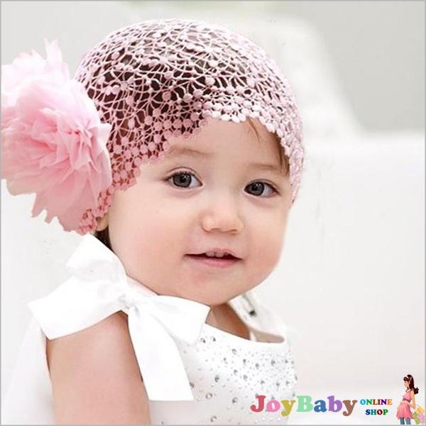 蕾絲寬髮帶/女童髮飾新款雪紡花朵兒童大花朵髮網小公主髮箍頭飾JoyBaby 【JoyBaby】