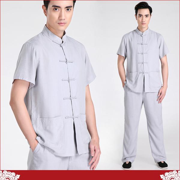 【水水女人國】~中國風男士唐裝~清風(灰)。如節麻書卷氣質十足的短袖上衣+長褲功夫套裝