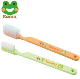 【悅兒樂婦幼用品舘】哈皮蛙 Kaeru 攜帶式幼童牙刷18-36m x1入 (綠/橘)