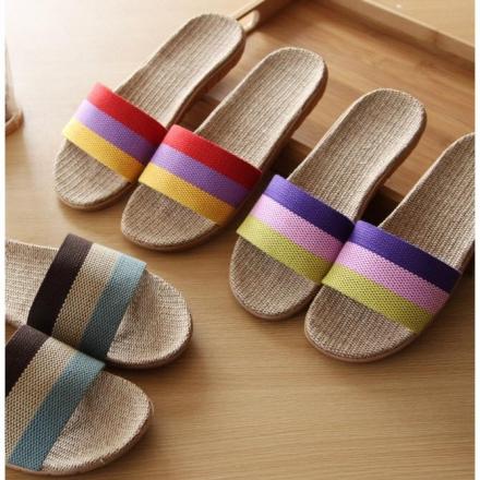 室內拖鞋 三色條紋透氣亞麻家居拖鞋/亞麻拖鞋/情侶拖鞋 【Casa Mia】