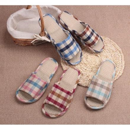 室內拖鞋 - 田園格子休閒棉麻透氣居家拖鞋【Casa Mia】