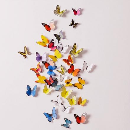 【任3件$99】壁貼 - 3D 立體蝴蝶壁貼 15枚入