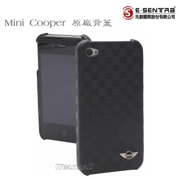 葳爾洋行 Wear 【Mini Cooper】Apple【iPhone4、iPhone4S】專用,菱格紋真皮背蓋皮套【先創國際代理公司貨】