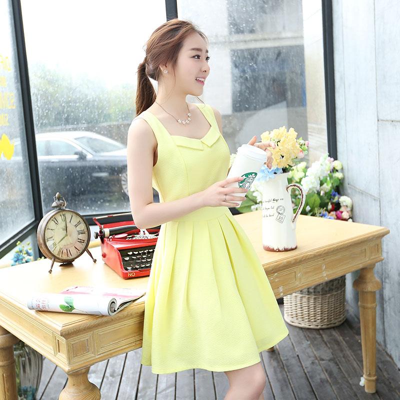 YJY微美清新純色修身無袖質感洋裝[80253]-3色全尺碼