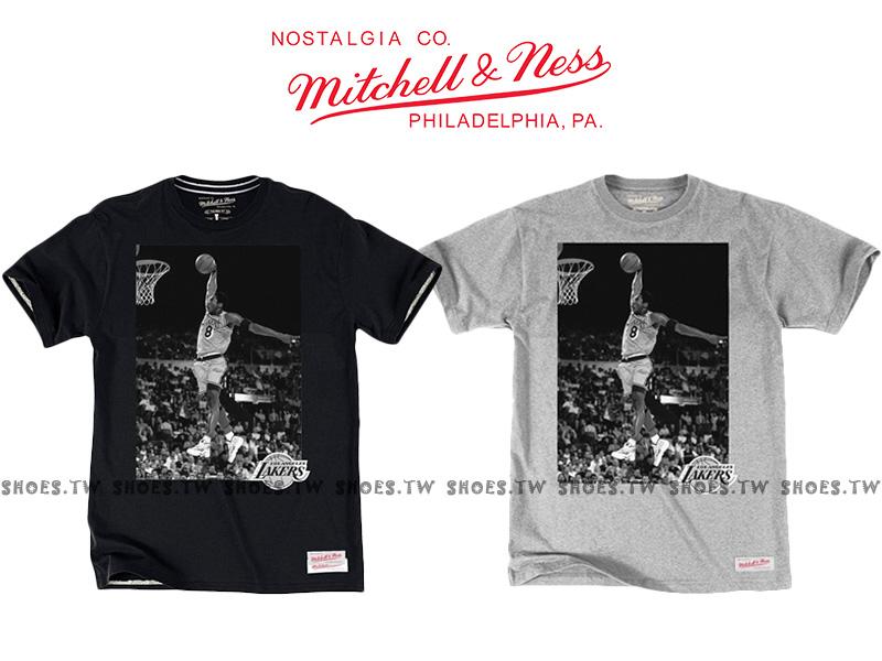 Shoestw【Mitchell & Ness】NBA 照片T恤 復古 棉Tee 湖人 KOBE 8號 黑 灰兩色