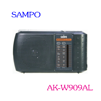 SAMPO  聲寶手提式收音機 AK-W909AL  ◆AM/FM雙頻道收音 ◆具有耳機插孔 ◆音量可調 ◆伸縮天線