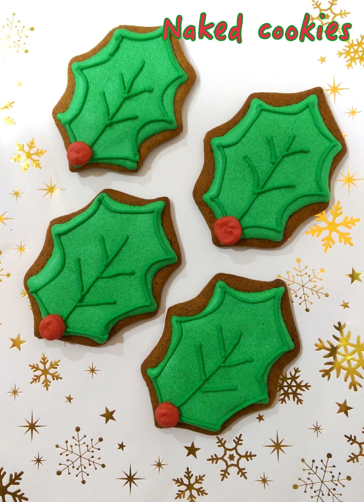 【裸餅乾Naked Cookies】聖誕葉6入-創意手工糖霜餅乾,婚禮小物/生日/活動/收涎/彌月