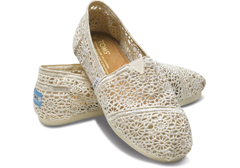 [Anson king]國外代購TOMS 帆布鞋/懶人鞋/休閒鞋/至尊鞋 蕾絲系列  米白 女款
