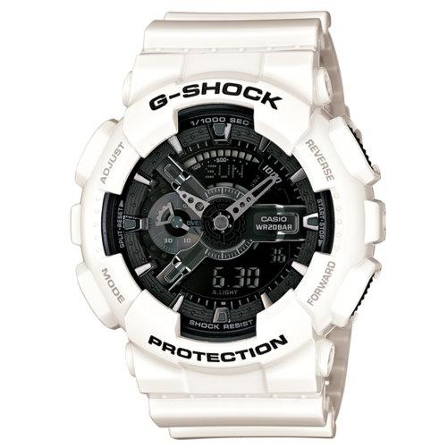 CASIO G-SHOCK/雙顯潮流錶/黑白(GA-110GW-7ADR)