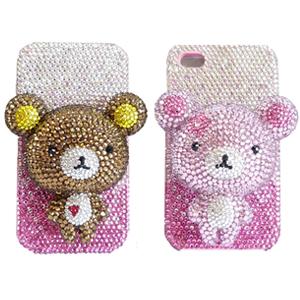 iPhone4S 雙面貼鑽小熊 公仔貼鑽手機殼 Enya 恩雅(捷克水晶鑽)(郵寄免運)