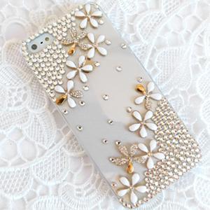 iPhone5S 水鑽小雛菊 清新貼鑽手機殼 Enya恩雅(捷克水晶鑽)(郵寄免運)